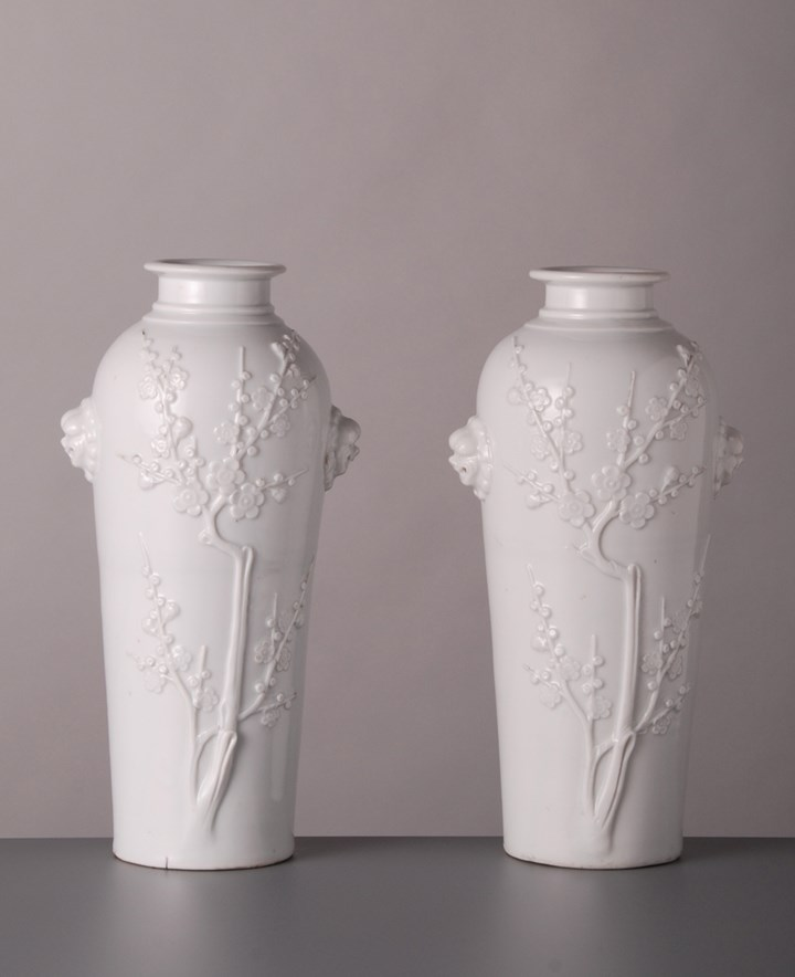 Pair of Blanc de Chine Vases with Lionmask Handles