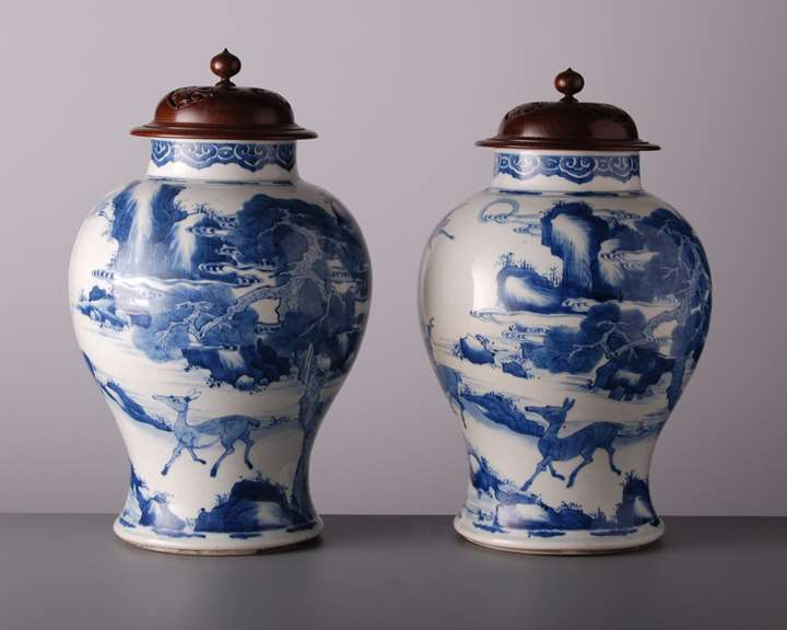 Pair of Large Vases and Covers