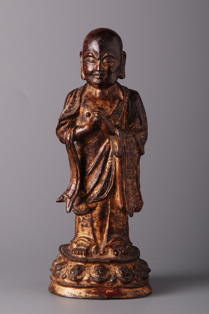 Lacquered and Gilded Figure of Luohan