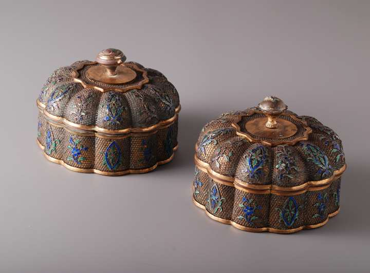 Pair of Filigree Boxes and Covers