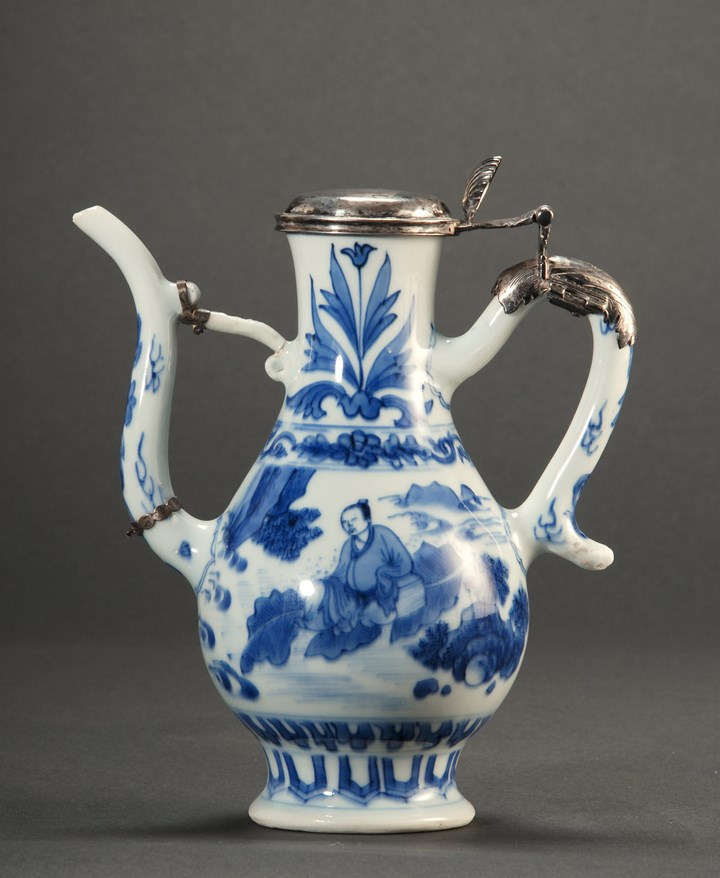 73. Blue and White Ewer with Silver Cover