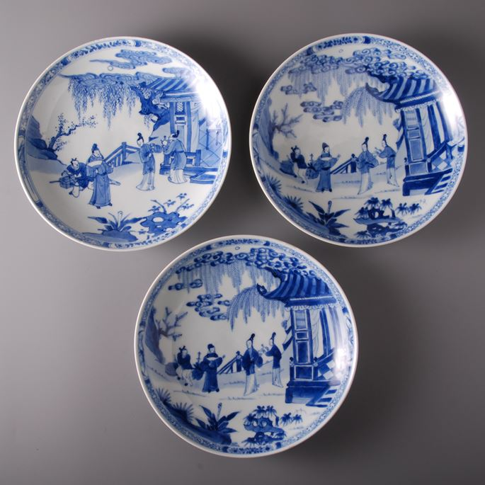 Blue and White Plates Garden Scene | MasterArt