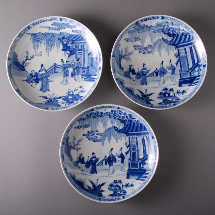 Blue and White Plates Garden Scene