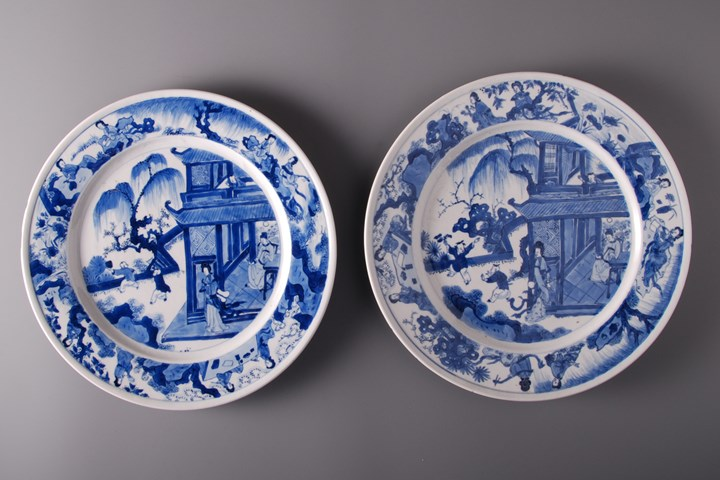 Pair of Blue and White Plates - Kangxi period
