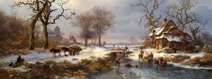Frederick Marinus Kruseman - Dutch Winter Landscape with Skaters | MasterArt