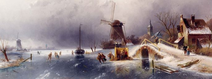 Charles Henri Joseph Leickert - Skaters in a Winter Landscape, Holland | MasterArt
