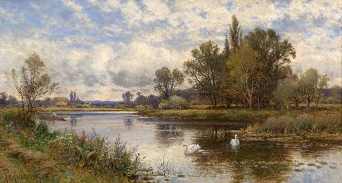 Alfred Augustus Glendening - River Scene with Swans | MasterArt