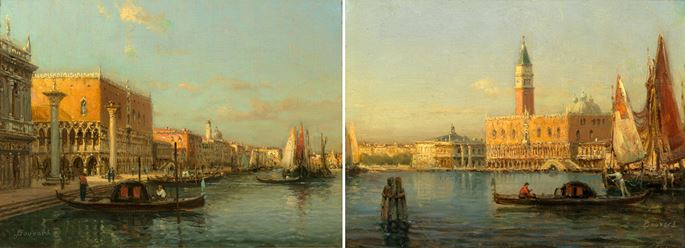 Antoine Bouvard Sr - A pair of the Grand Canal and Doge's Palace, Venice | MasterArt