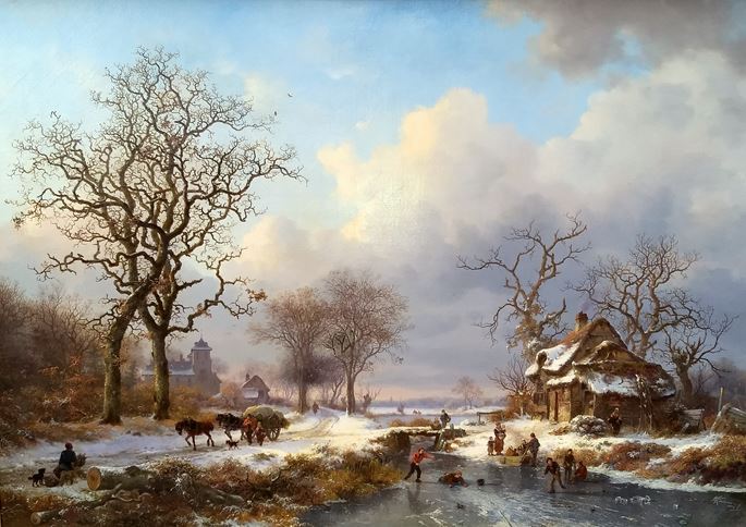 Frederick Marinus Kruseman - Dutch Winter Landscape with Skaters | MasterArt