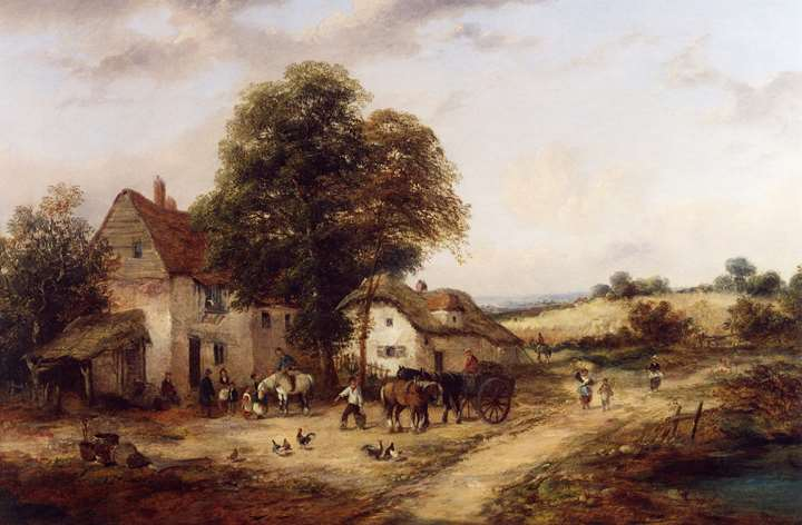 A Farmyard with Figures & Horses