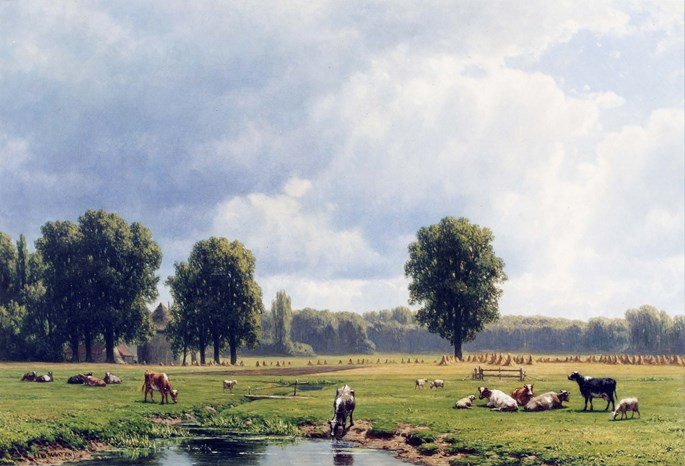 Jacob Jan van der Maaten - Dutch Landscape with Cattle | MasterArt