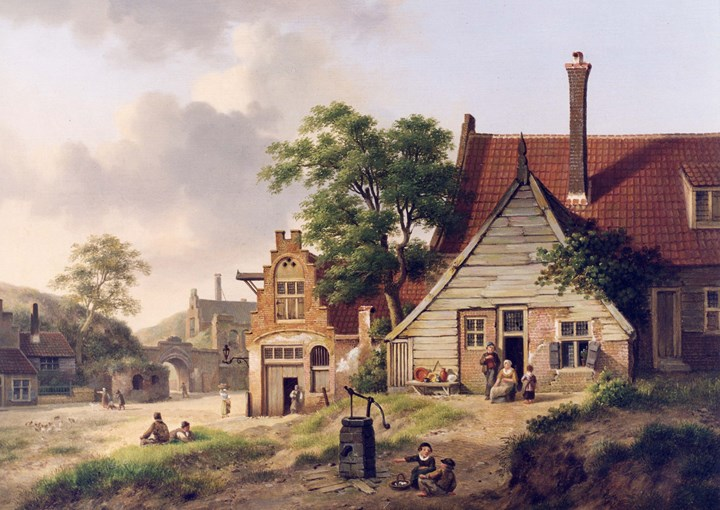 A Dutch Village Scene with Figures
