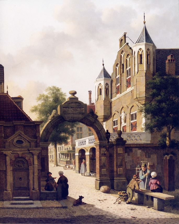 Jan Hendrick Verheyen - Dutch Street Scene with Figures in the Foreground | MasterArt