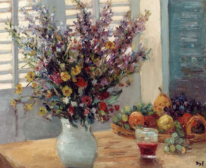 A Vase of Flowers & Fruit on a Table