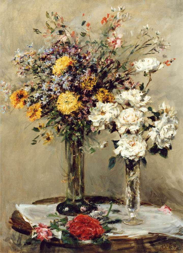 Flowers in Two Glass Vases on a Table