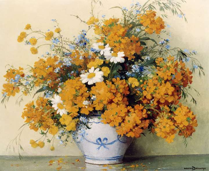 Flowers in a Blue & White Vase