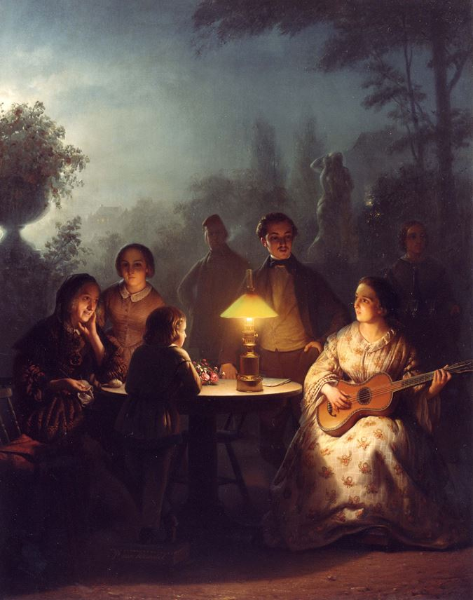 Petrus van Schendel - A Summer Evening by Lamp and by Moonlight | MasterArt