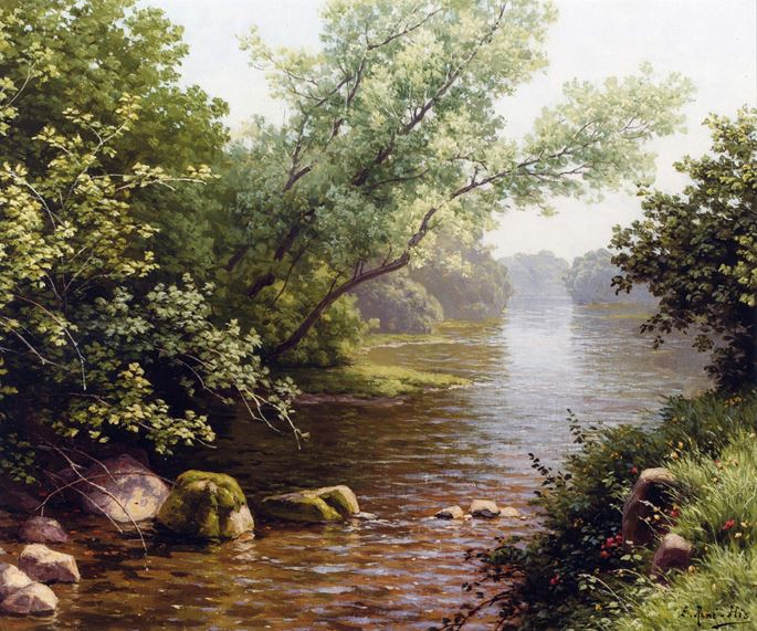 Rene Charles Edmond  His - A River Scene in France | MasterArt