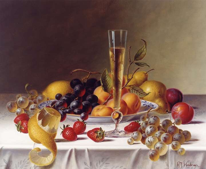 A Still Life with Champagne & Fruit on a Tablecloth
