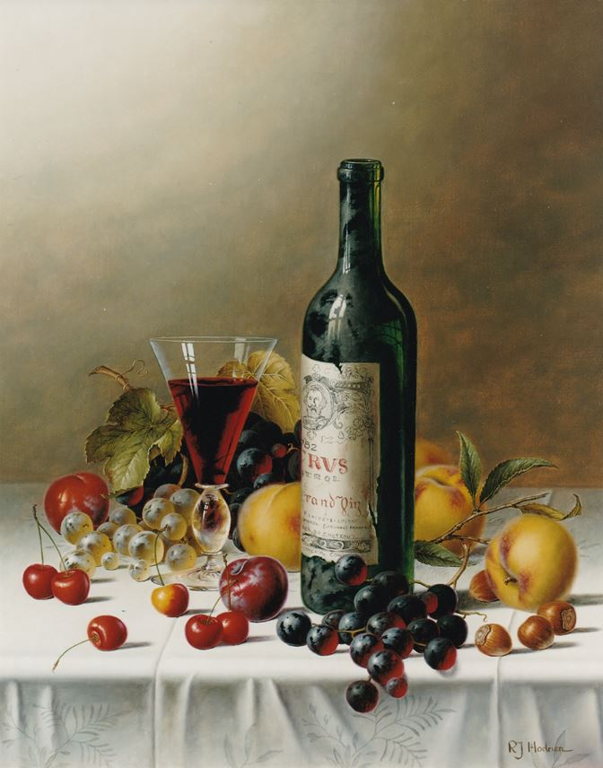 Roy Hodrien - Still Life with Ch. Petrus and Fruit on a Tablecloth | MasterArt