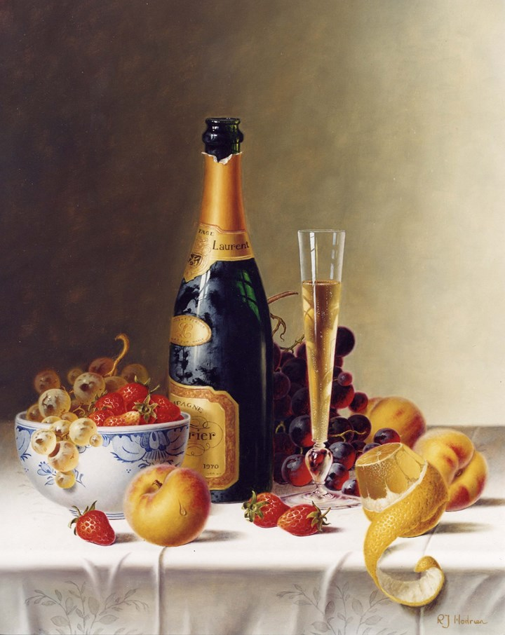Still Life with Champagne & Fruit on a Tablecloth