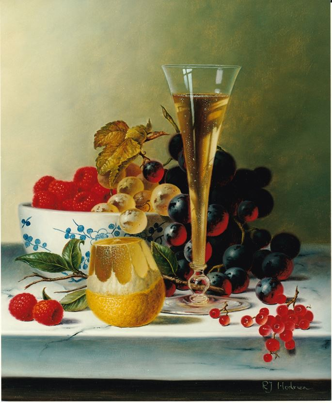 Roy Hodrien - Still Life with Champagne and Fruit on Marble | MasterArt