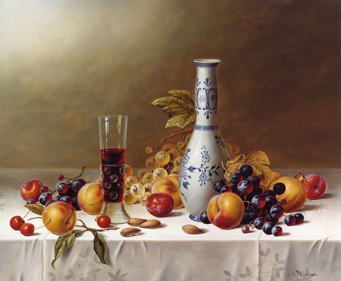 Roy Hodrien - Still Life with Delft Vase, Red Wine & Fruits on a Tablecloth | MasterArt
