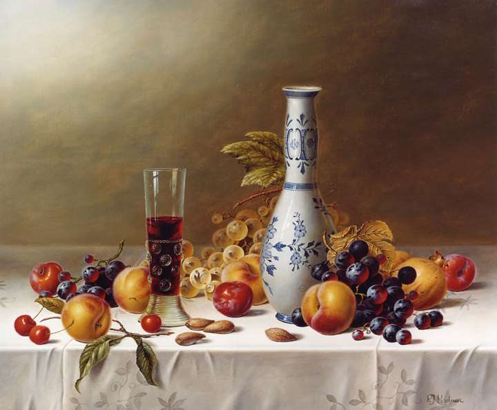 Still Life with Delft Vase, Red Wine & Fruits on a Tablecloth