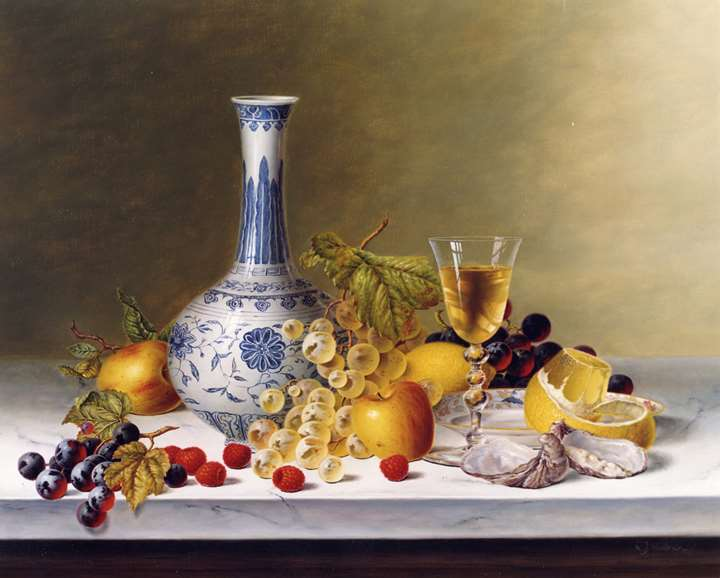 Still Life with Ming Vase & Fruit on Marble