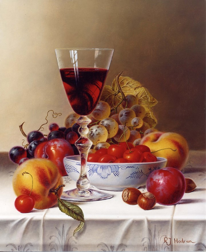 Still Life with Red Wine & Cherries on a Tablecloth
