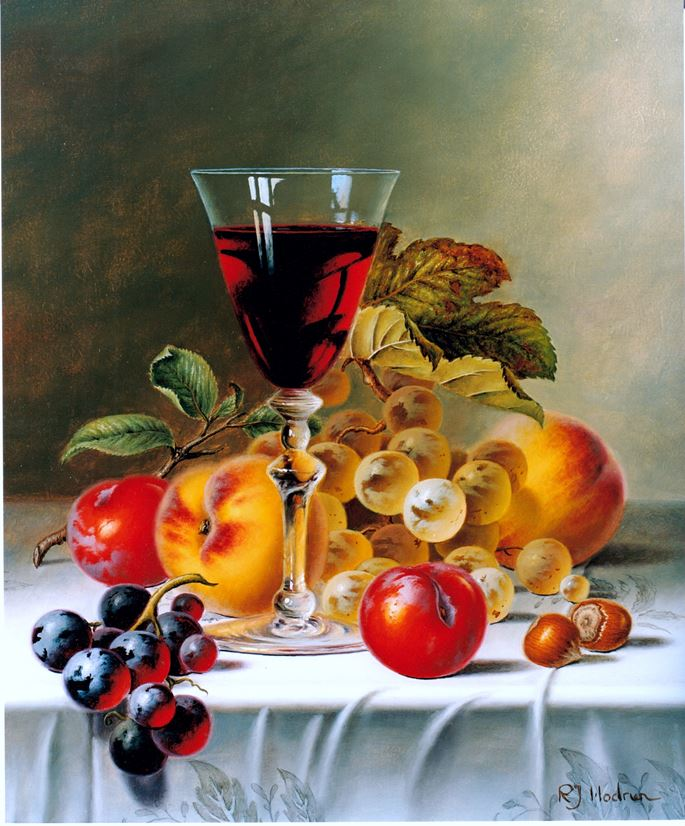 Roy Hodrien - Still Life with Red Wine and Fruit on a Tablecloth | MasterArt