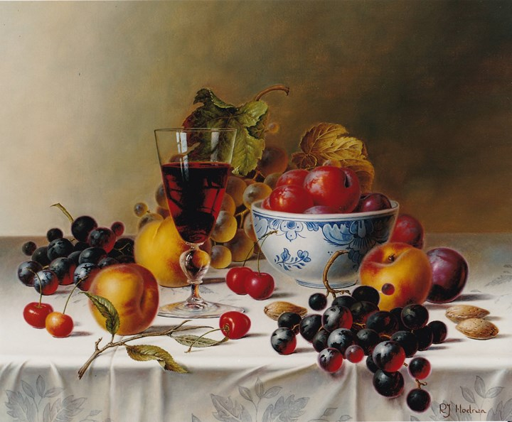 Still Life with Red Wine and Fruit on a Tablecloth