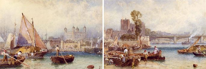Myles Birket Foster - The Tower of London from the Thames / Putney Bridge (PAIR) | MasterArt