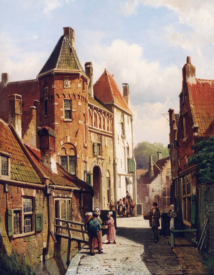 Dutch Town Scene with Figures