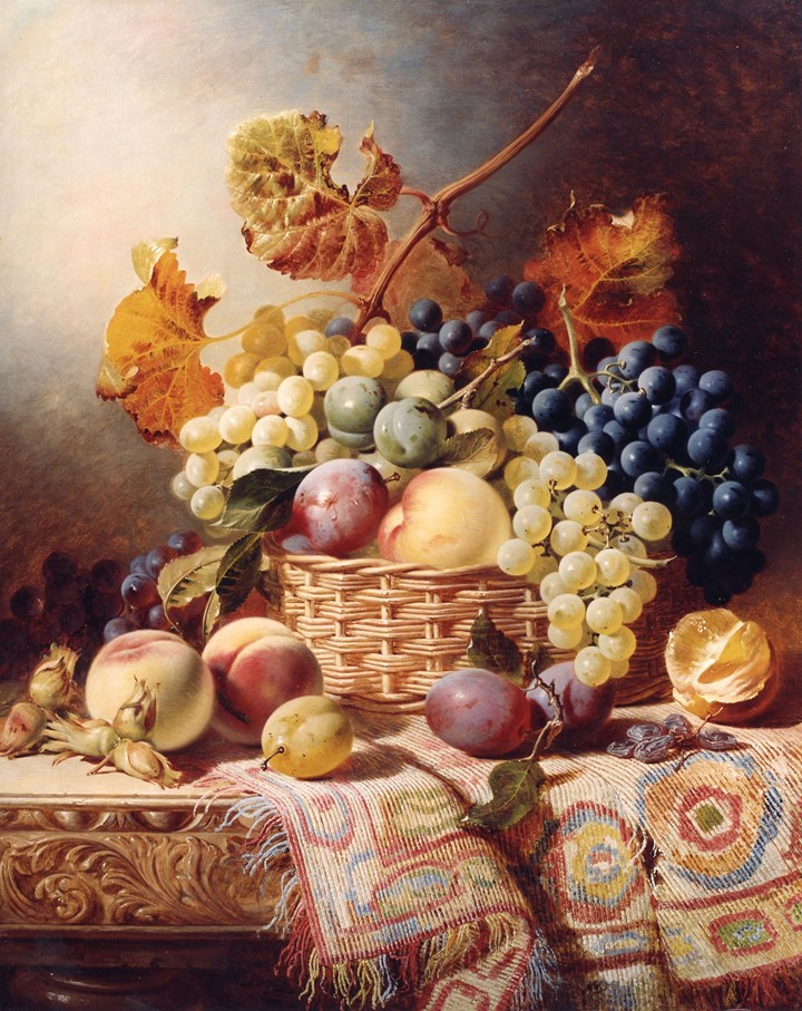 Still Life with Basket of Fruit on a Table with a Rug