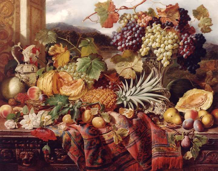 Still Life with Mixed Fruit & a Rug with Landscape Beyond