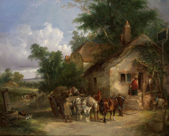 William Shayer Sr - A Halt at the Inn | MasterArt