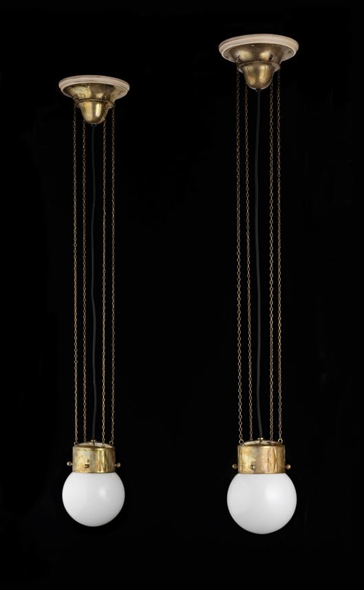 Josef  Hoffmann - Pair of hanging lamps | MasterArt